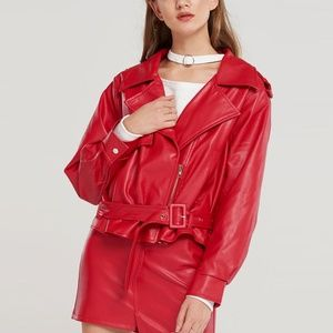 Storets Winona Pleather Moto Jacket in Red